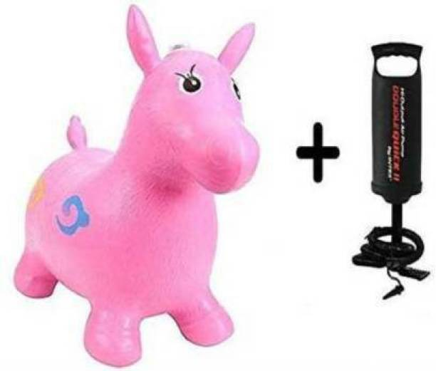 Tricolor Tri color Jumping and Riding Horse Bouncing Horse Hopper Animal Toy for Kids with Double Quick II Hand Air Pump (Pink) Inflatable Hoppers & Bouncer (Pink, Black) Inflatable Hoppers & Bouncer