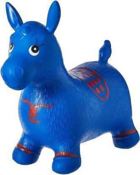 Tricolor Tri color Inflatable Jumping & Bouncer Riding Horse Animal Toy for kids (Blue) Inflatable Hoppers & Bouncer