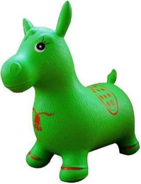 Tricolor Tri color Jumping & Bouncer Riding Horse Inflatable Animal Toy for kids Inflatable Hoppers & Bouncer (Green) Inflatable Hoppers & Bouncer
