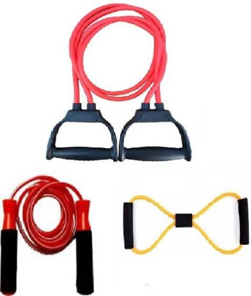 Rolgo1 Sports & Fitness combo of Double Toning Tube / Pull Rope, 8 Band Exerciser & JUMP ROPE Gym & Fitness Kit