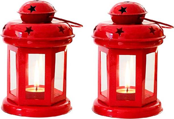 Designer International Designer International Decorative Lantern / Lamp , with t-light candle Hanging Light , T-Light Candle Holder , Indoor / Outdoor Decoration , Red, Red Iron Table Lantern