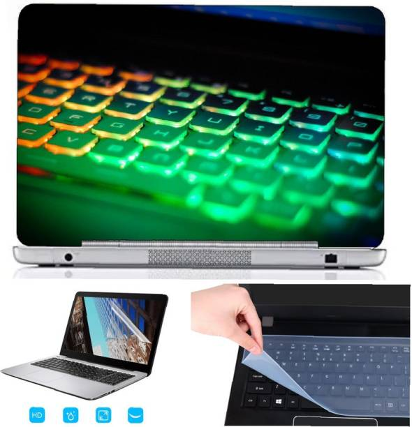 SDM 3in1 laptop accessories combo set , ultra hd printed(GAMING LIGHTS KEYBOARD) laptop skin with key guard , screen guard for all laptops and notebooks (for 15.6 inch laptops) Combo Set