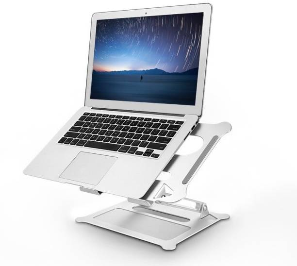 OET European Standard Foldable Aluminium Adjustable Laptop Stand Compatible with Mac Book and All Model Laptops LSTD-01 Laptop Stand