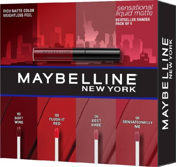 MAYBELLINE NEW YORK Sensational Liquid Matte Lip Kit - Soft Wine, Flush it Red, Sensationally Me, Best Babe (Pack of 4), 151g