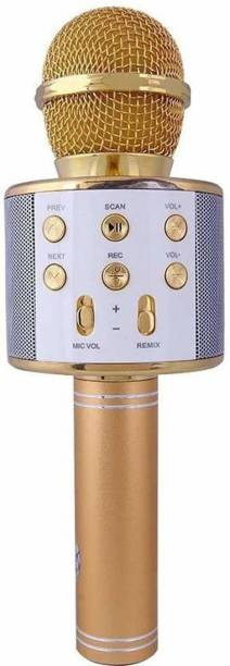 awza WS-858 Wireless Handheld Bluetooth Mic with Speaker (Bluetooth Speaker) Audio Recording and Karaoke Feature Microphone Handheld 858 (Gold) Microphone