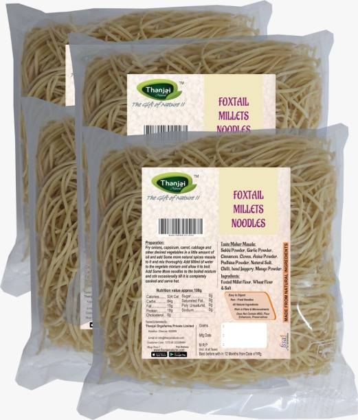 THANJAI NATURAL Foxtail Millets Noodles 180g X 4 (Processed with Natural Ingredients , No Chemicals and No Preservatives) Instant Noodles Vegetarian