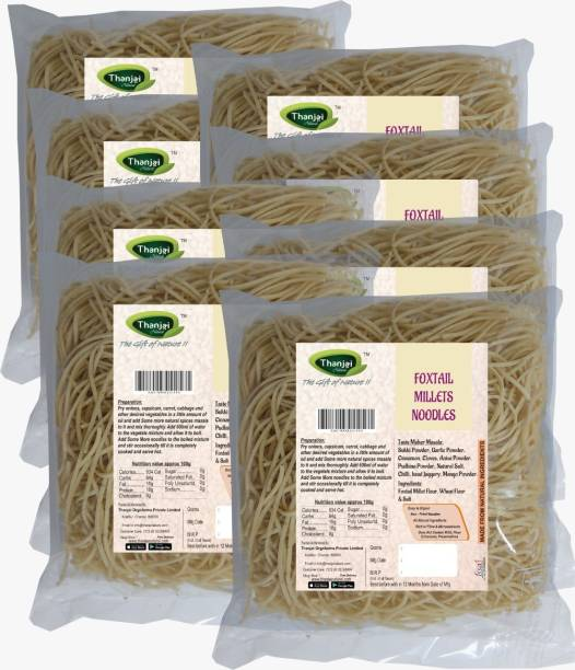 THANJAI NATURAL Foxtail Millets Noodles 180g X 8 (Processed with Natural Ingredients , No Chemicals and No Preservatives) Instant Noodles Vegetarian