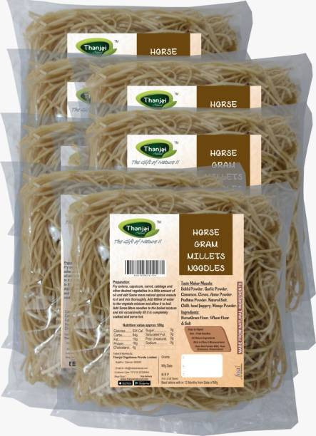 THANJAI NATURAL Horsegram Millets Noodles 180g X 8 (Processed with Natural Ingredients , No Chemicals and No Preservatives) Instant Noodles Vegetarian