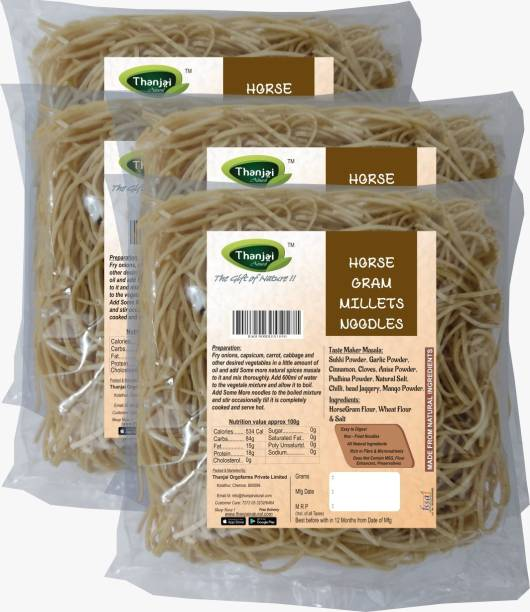 THANJAI NATURAL Horsegram Millets Noodles 180g X 4 (Processed with Natural Ingredients , No Chemicals and No Preservatives) Instant Noodles Vegetarian