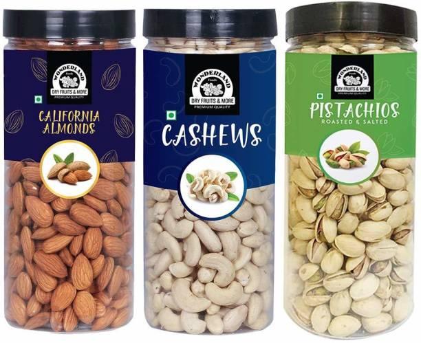 WONDERLAND Foods Premium Quality Dry Fruits Combo Pack Almonds, Cashews, Pistachios