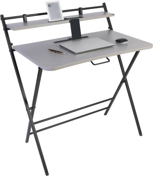 Woodware Futura Premium Folding Office, Study Table With Dual Desks, Curved Edges, Cup And Tablet Holder Engineered Wood Study Table