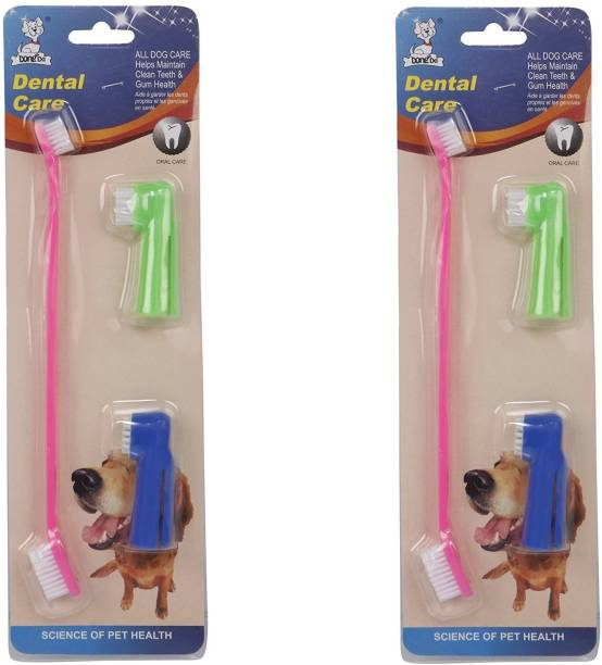 Pet Needs 3 In 1 Cleaning Dental Toothbrush (Multicolour) Pack of 2 Pet Toothbrush