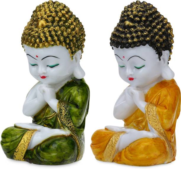 Flipkart Perfect Homes Pair of 2 Little Baby Monk Marble Fineshing Decorative Showpiece  -  7 cm