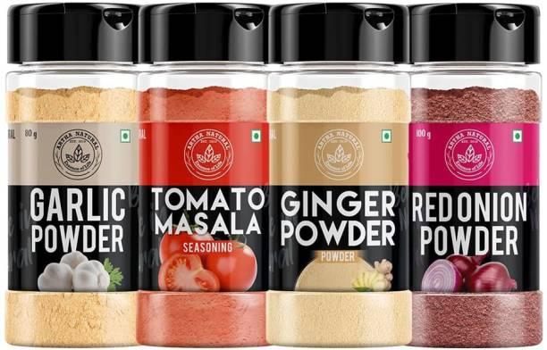 ARTHA NATURAL Onion Powder 100g, Ginger Powder (Adrak /Sunth) 100g, Garlic Powder 80g, Tomato Powder 150g - for Cooking & Baking, Everyday Use, Pure & Natural Powder - [Super Saver Combo Pack]