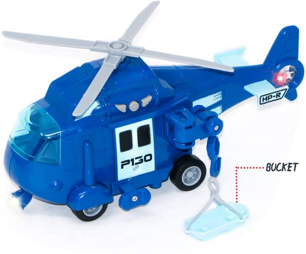zest 4 toyz Police Rescue Helicopter Toy For Kids With Flashing Light, Sound Effect & Hanging Basket , Chopper Friction Toy For Kids - Blue