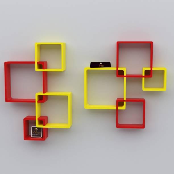 WoodenTwist Rafuf Wooden Intersecting Wall Shelves ( Set of 8 ) Red & Yellow MDF (Medium Density Fiber) Wall Shelf