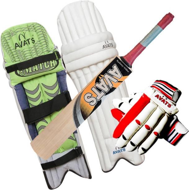cea4132c7 Avats 1 Pad Piu Leather   1 Kashmiri Willow Bat   1 Hand Gloves Set Cricket