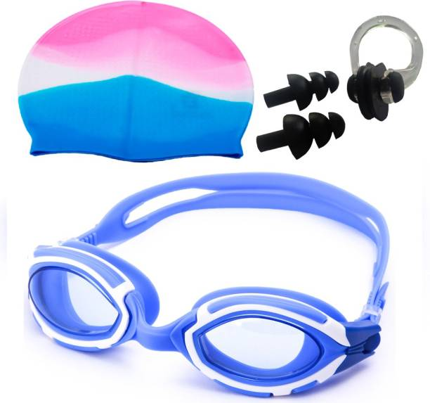 NOVICZ Swimming Goggle + Cap + Ear Nose Plug Combo - Swim Glass Head Hair Protection Swimming Kit