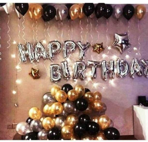 GSV Solid Happy birthday Banner Foil Balloons (13 pcs)+30 PCS metalic Balloons(silver, black, gold) set of 43 pcs Balloon