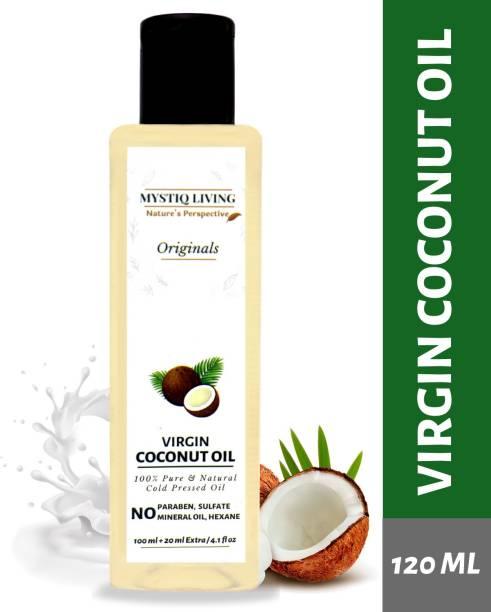 Mystiq Living Virgin Coconut Oil (Cold Pressed) For Skin & Hair 100% Pure & Natural (Organic) - 120 ml