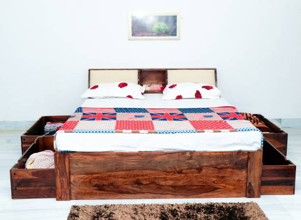 FURINNO Solid Wood King Drawer, Box Bed