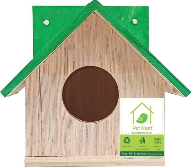 PetNest BVN5S Bird House Box for Sparrow and Garden Birds Wood Bird Nest Garden Outdoor Decor for Attracting Birds Bird House