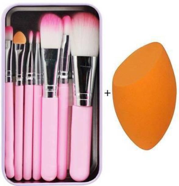 XVAIN Makeup hello-kitty brush set of 7 & Sponge puff blender (Pack of 8) (Pack of 8)