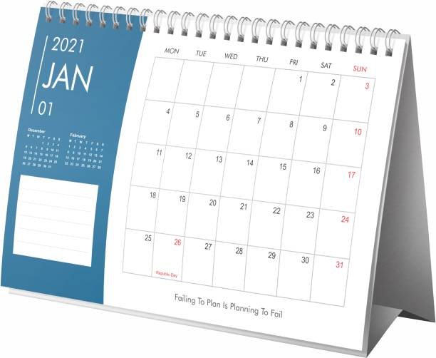 Lauret Blanc Desk, Table Calender 2021 Planner and Organizer- Home and Office Calender, Holidays mentioned 2021 Table Calendar