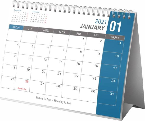 Lauret Blanc Table, Desktop Calender 2021 Planner and Organizer- Home and Office Calender, Holidays mentioned 2021 Table Calendar