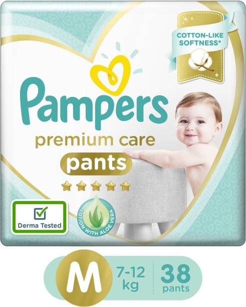 Pampers Premium Cotton like soft Diapers with Wetness Indicator - M