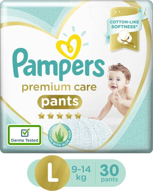 Pampers Premium Cotton like soft Diapers with Wetness Indicator - L