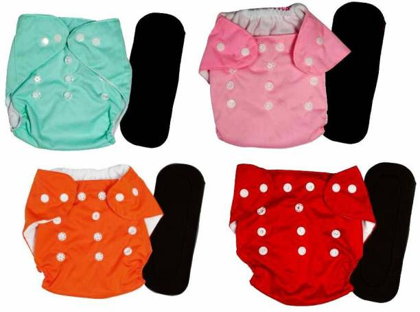 Baby Hashtag Reusable Button Diaper Multi Color Pack of 4 Button Diaper and 4 Black 4 layer Insert (4 Button Diapers + 4 Black 4 Layer Insert ) - S - M - S - M