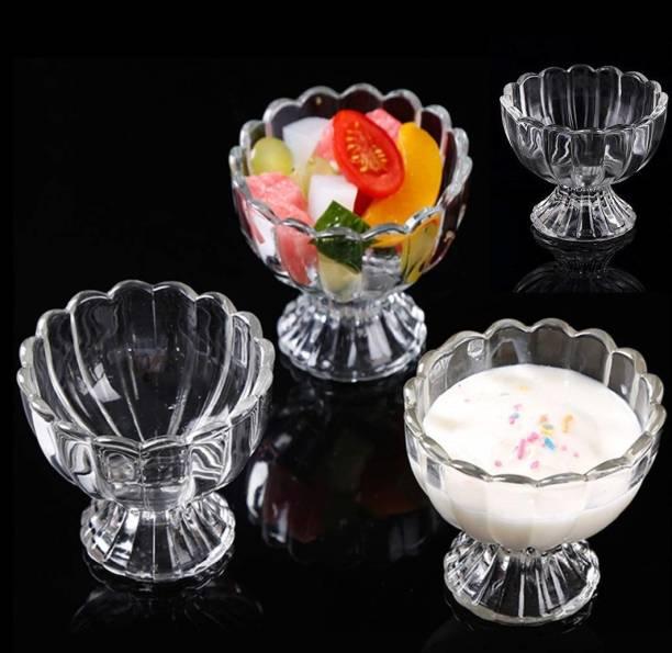 AKADO Pack of 4 Glass Crystal ice cream transparent mixing dessert pudding salad chocolate dining tableware serving bowl set Dinner Set
