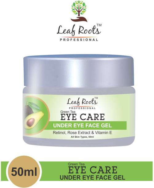 leaf roots PROFESSIONAL GREEN TEA EYE CARE UNDER EYE GEL,WITH RETINOL|ROSE OIL|GREEN TEA|VITAMIN E,FOR REDUCE DARK CIRCLES|REDUCE PUFFINESS|REDUCE FINE LINE|REDUCE WRINKLES,ALL SKIN TYPES(50ML)