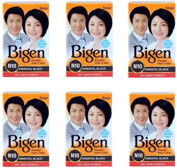 Bigen Powder Hair Color Oriental Black 6 x 6 g Packs , Black