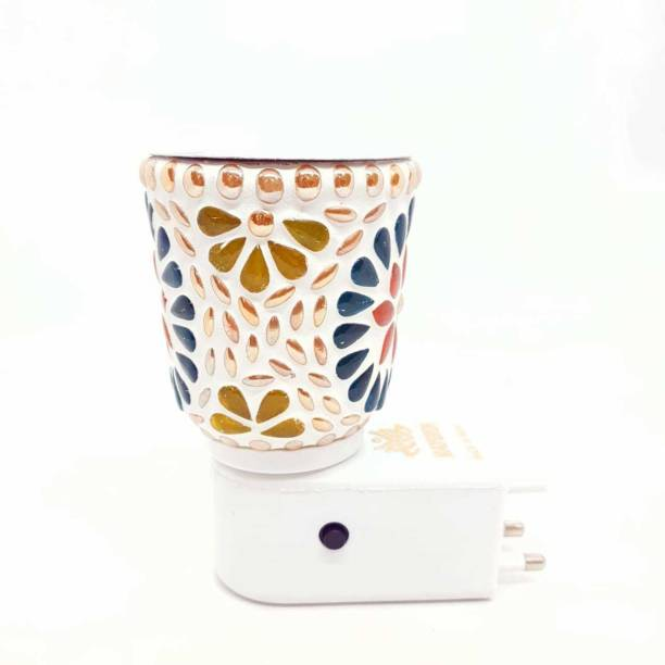 MDTL New Lamp Shap Kapoor Dani/Aroma Oil Burner Cum Night Lamp with Switch (in-Built On/Off Button for Heating) Glass Incense Holder