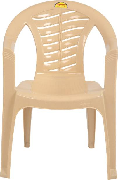 Supreme Citizen Stackable Plastic Chair for Home&Kitchen, Office and Outdoor Use (Set of 2, M.beige) Plastic Living Room Chair