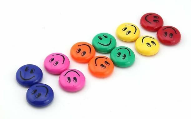 Qatalitic Plastic Round Cartoon Emoji Smile Smiley Face Fridge Magnets Refrigerator Magnetic Sticker Home Decoration Toys Fridge Magnet Pack of 12