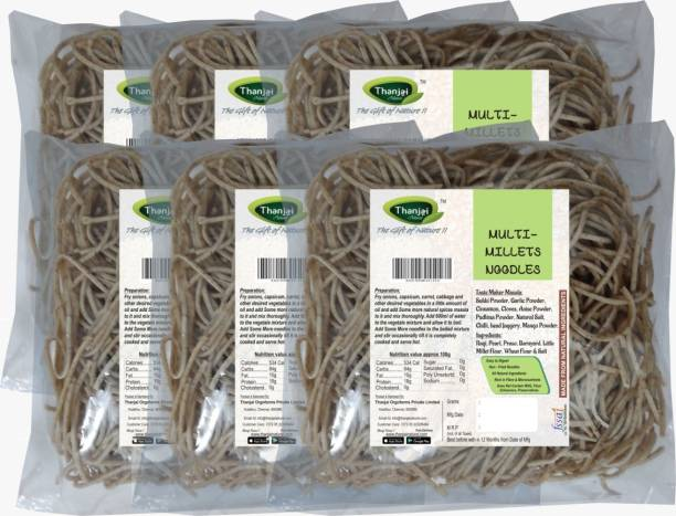 THANJAI NATURAL MULTI-Millets Noodles 180g X 6 (Processed with Natural Ingredients , No Chemicals and No Preservatives) Instant Noodles Vegetarian