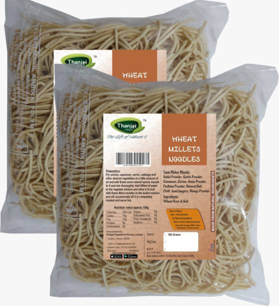 THANJAI NATURAL Wheat Millets Noodles 180g X 2 (Processed with Natural Ingredients , No Chemicals and No Preservatives) Instant Noodles Vegetarian
