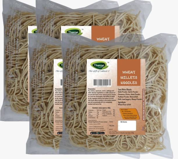 THANJAI NATURAL Wheat Millets Noodles 180g X 4 (Processed with Natural Ingredients , No Chemicals and No Preservatives) Instant Noodles Vegetarian