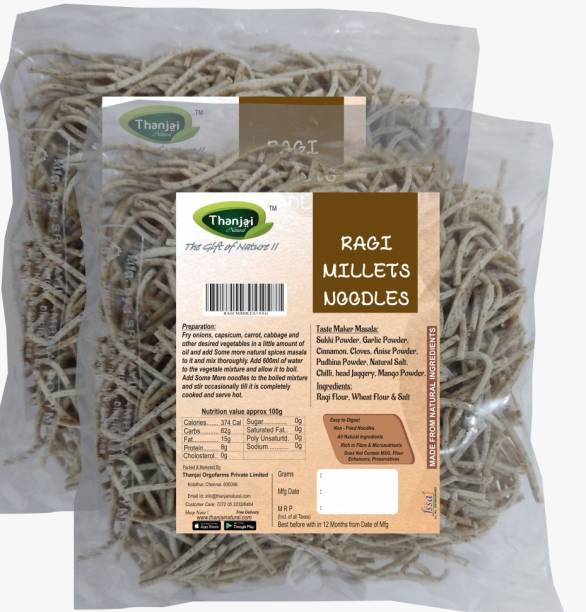 THANJAI NATURAL Ragi Millets Noodles 180g X 2 (Processed with Natural Ingredients , No Chemicals and No Preservatives) Instant Noodles Vegetarian