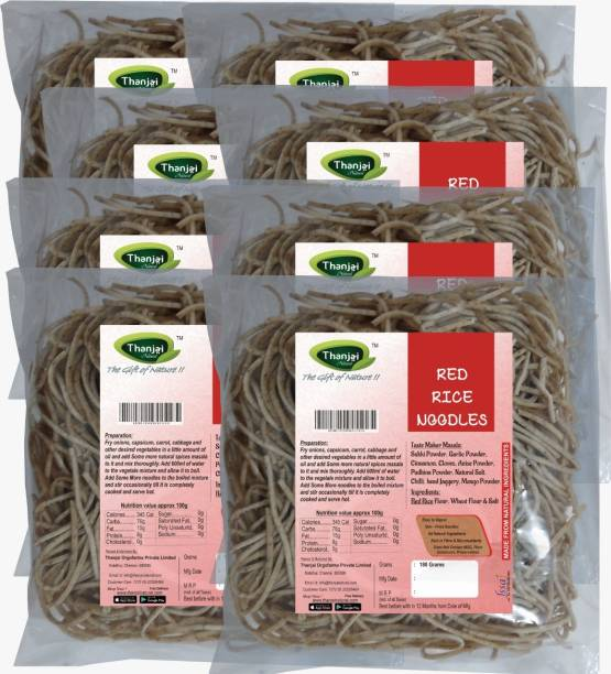 THANJAI NATURAL Red Rice Millets Noodles 180g X 8 (Processed with Natural Ingredients , No Chemicals and No Preservatives) Instant Noodles Vegetarian