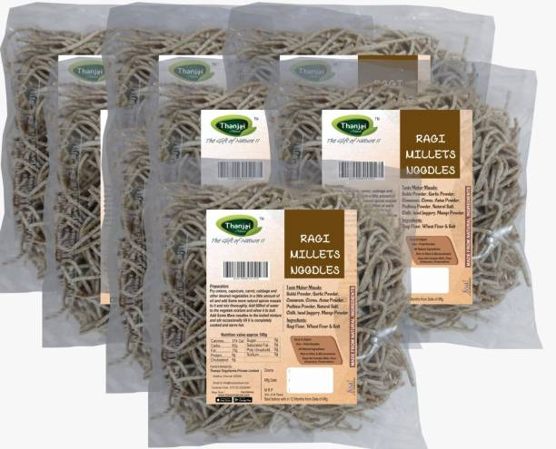 THANJAI NATURAL Ragi Millets Noodles 180g X 8 (Processed with Natural Ingredients , No Chemicals and No Preservatives) Instant Noodles Vegetarian