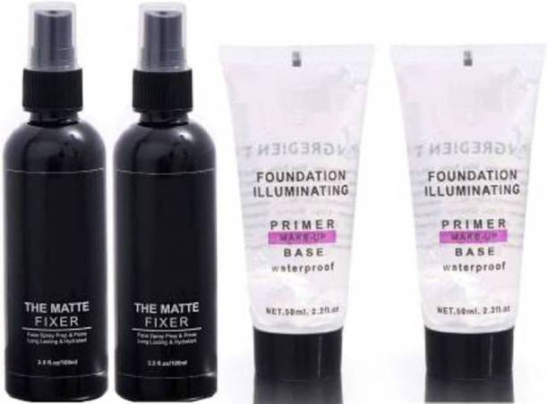 Bantu combo matte fixer and primer Primer - 300 ml (Transparent, Black) Primer  - 300 ml