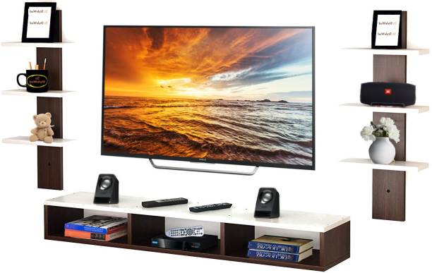 StyleWud Aster TV Entertainment Wall Unit/Set Top Box Stand with Wall Shelf / Display Unit White with Wenge. Particle Board Wall Shelf