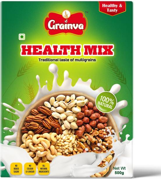 grainva Health Mix SathuMavvu Powder100% Natural Multigrain Multimillet Instant Mix,Energy Child Drink & Early Food,Baby Cereals, Pulses & Nuts Supplements,Immunity Booster & Navadhanya Gluten Free,Protein,Iron,Dietary Fiber Nutrition Drink for kids 500 g