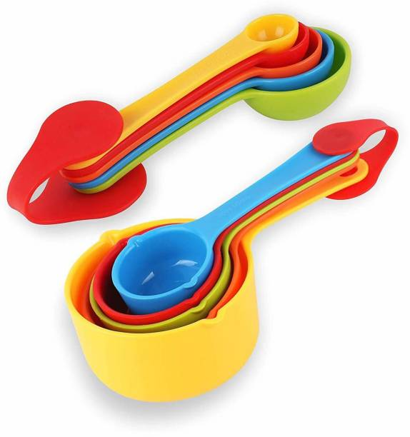 ALWAFLI Multicolor Baking Measurement Measuring Cups And Spoons Set 10pcs Measuring Cup Set (0.5 ml) Plastic Measuring Spoon Set