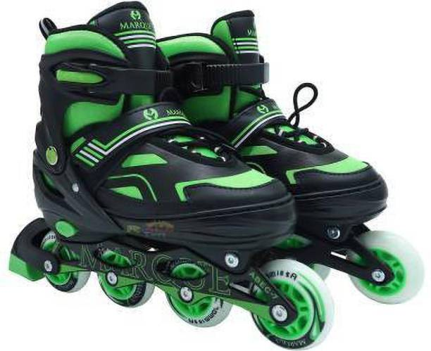 KGINT Children's Inline Skates ABEC-7 Unisex Indoor and Outdoor Adjustable Size Roller Shoes Children's Flash ABEC-7 Bearing Wheel Best for Boys and Girls Gifts Full Edition Inline Skating with Bag (SIZE 5-7) GREEN In-line Skates - Size UK 5-7 (Green) Skates & Skateboard