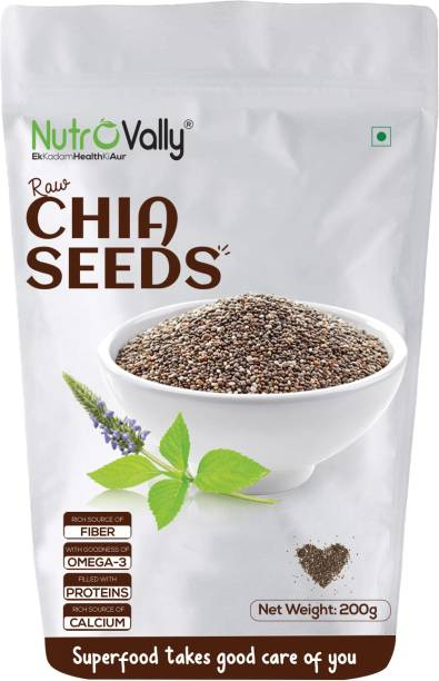 NutroVally Raw Chia Seeds for weight loss with Omega 3 and Fiber, Calcium Rich Seeds - 200g